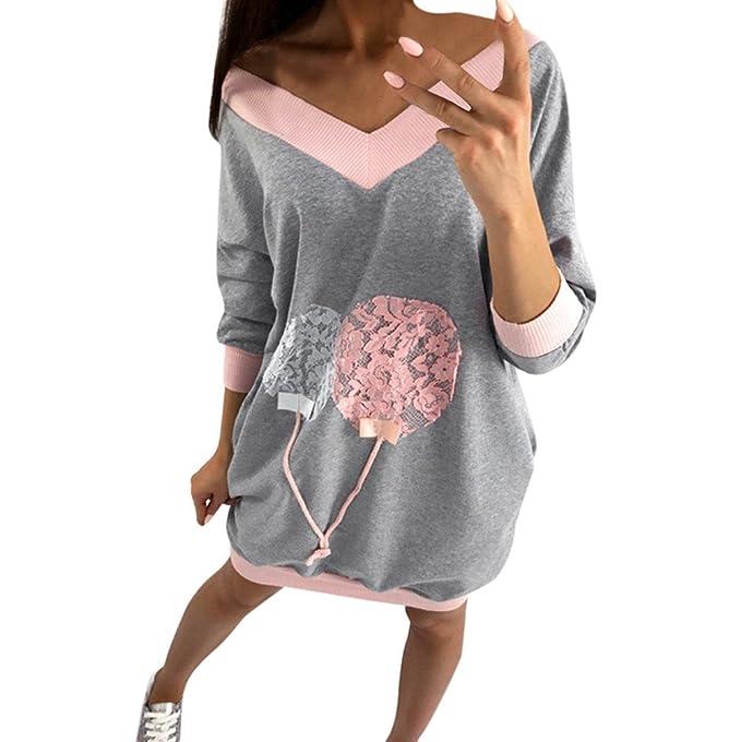Levifun Mujeres Manga Larga Casual Superior De Blusas Camiseta de Mujer Manga Largas Sudadera de Fiesta