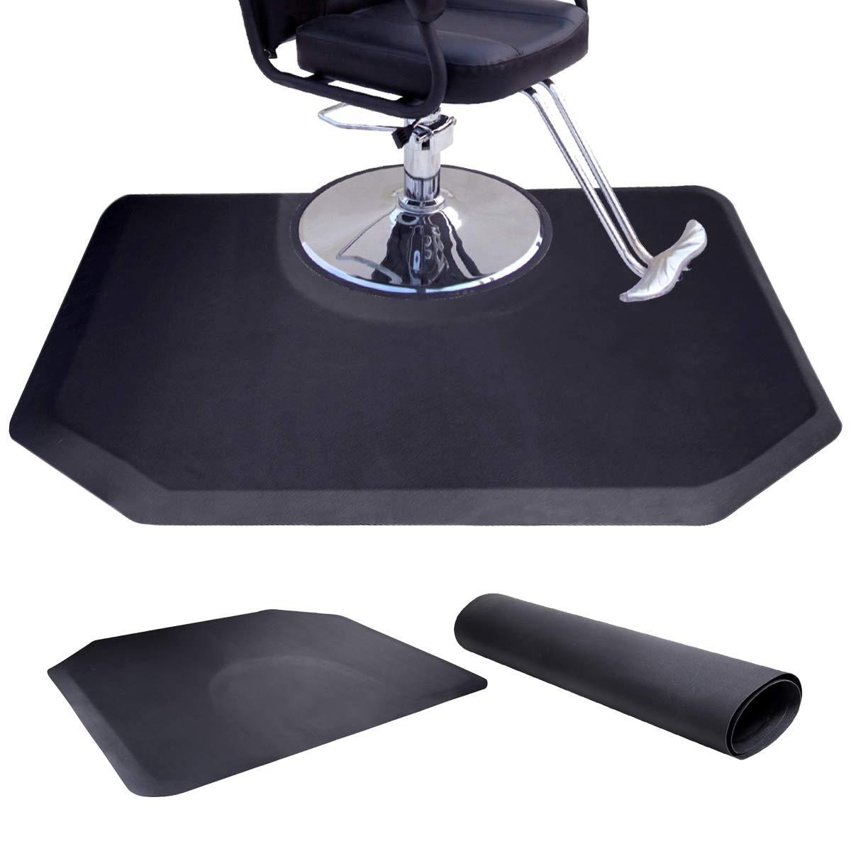 Tobbi Salon Barber Chair Mat 4 ft. x 5 ft. -1/2''Thick Anti Fatigue Beauty Floor Mat Black