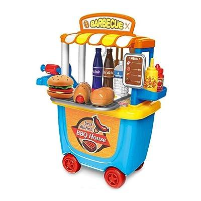 bouncevi Juguete de supermercado pequeño, Play House Trolley Car Barrel BBQ Trolley Cumpleaños niños niñas niños niños Physical: Hogar