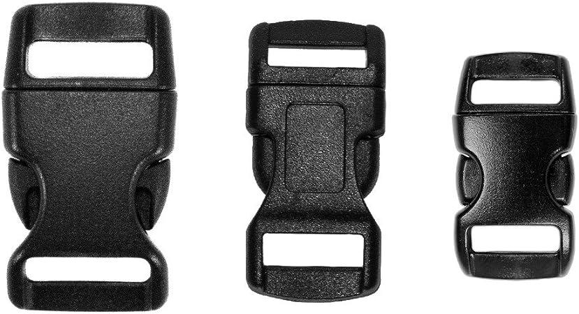 "10-1//2/"" Side Release Contoured Plastic Buckles for Paracord Bracelets Black"