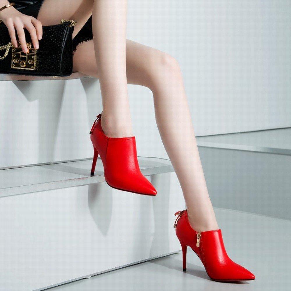 DHG Sexy Spitz mit Leder Leder Leder Damenschuhe in Europa im Winter Hochhackigen Frauen S Seitenreißverschluss Einzelne Schuhe Rot 39 1a0c9c