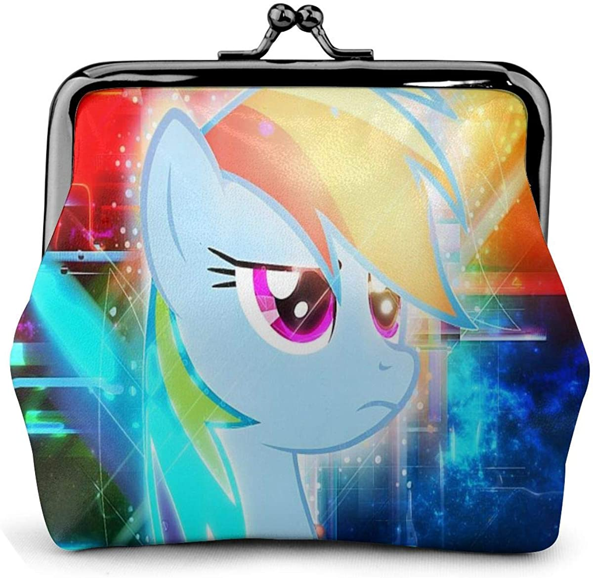 Coin Purse My Little Pony Rainbow Dash Coin Purse Wallet Purses Credit Cards Pouch Kiss Lock Exquisite Buckle Make Up Cellphone Women Leather Cash Coin Purses Wallets