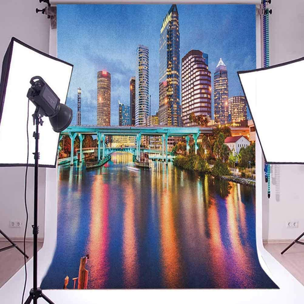 7x10 FT City Vinyl Photography Backdrop,Hillsborough River Tampa Florida USA Downtown Idyllic Evening at Business District Background for Baby Birthday Party Wedding Studio Props Photography