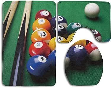 Fun Life Art Bathroom Rug Billiard Pool Balls Arrangement Snooker Contest Beginning Entertainment Game 3 Piece Bath Mat Set Contour Rug and Lid Cover: Amazon.es: Hogar