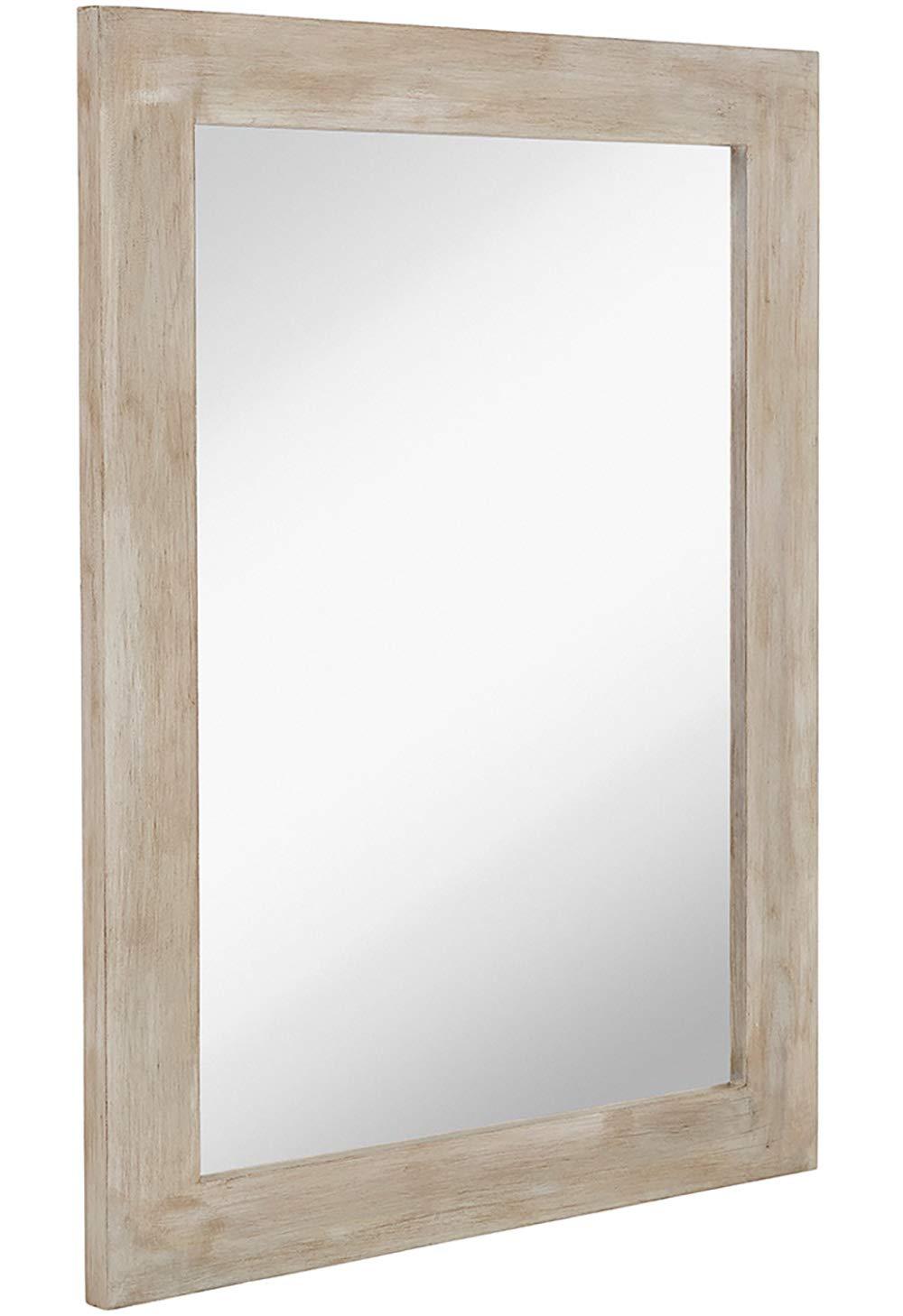 "Hamilton Hills White Washed Wood Framed Mirror 30"" x 40"" Vanity Mirror Rustic Beach Feel Wall Mirrored Frame"