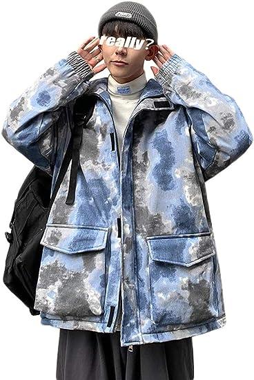 [DMbinshun]ダウンジャケット メンズ コート ジャケット 冬 フード付き 中綿ジャケット 防寒 あったか タイダイ染 おしゃれ 中綿コート 大きいサイズ アウター 男女兼用 ペアルック