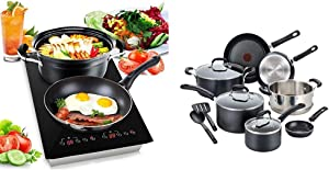 Dual 120V Electric Induction Cooker - 1800w Portable Digital Ceramic Countertop Double Burner Cooktop w/ Countdown Timer & T-fal Professional Nonstick Dishwasher Safe Cookware Set, 12-Piece, Black
