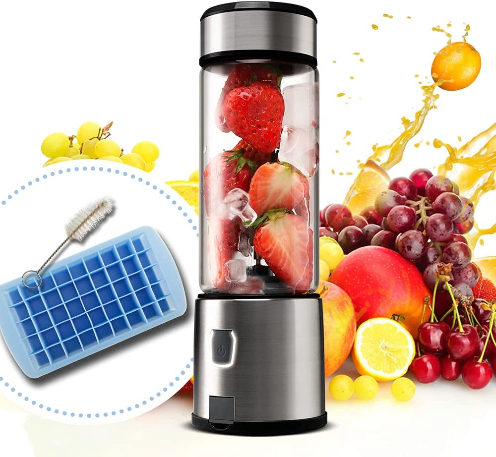 Portable Mini Blender, Personal Mixer Fruit Rechargeable with USB, Rechargeable Blender for Smoothie, Fruit Juice, Milk Shakes, 400ml, Six 3D Blades for Great Mixing (Black)