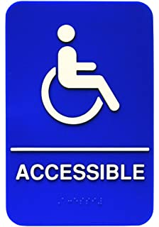 picture relating to Printable Handicap Sign titled ADA Handicap Offered Indication with Braille - Blue and White