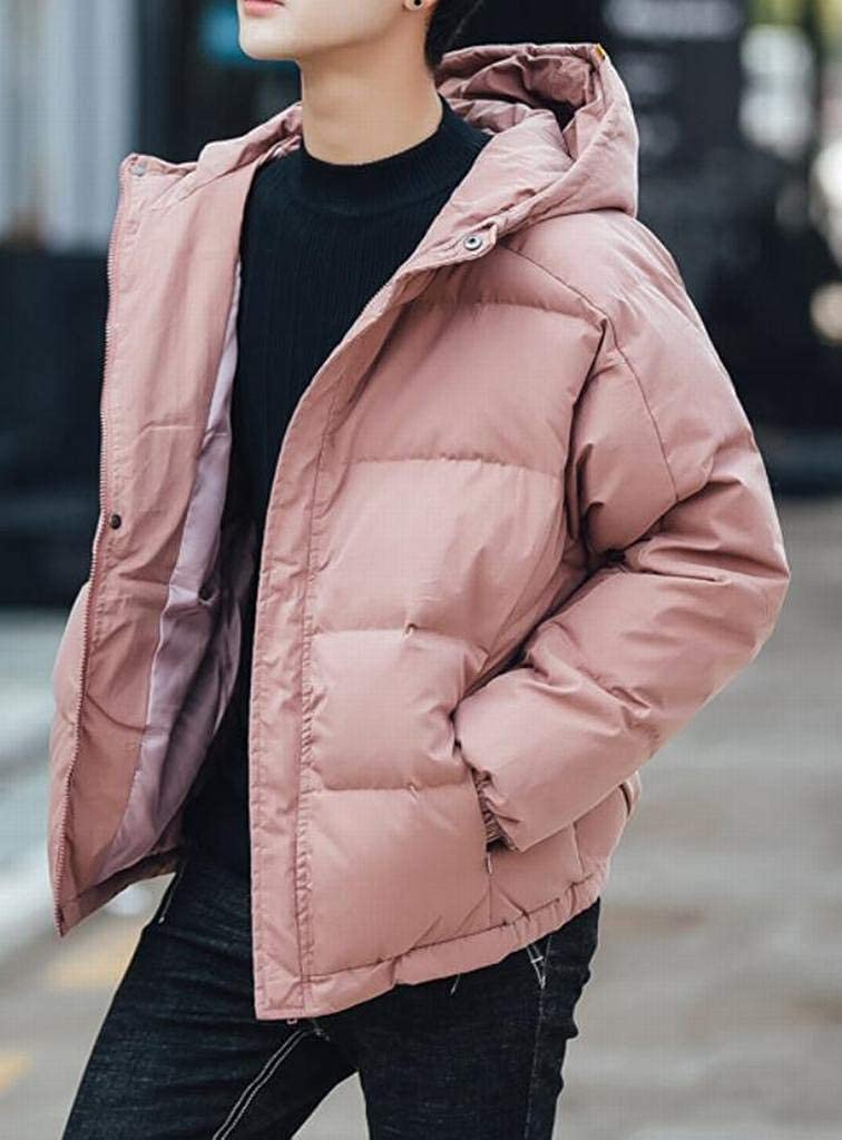 ARTFFEL Mens Winter Thicken Solid Loose Hooded Down Quilted Coat Jacket Overcoat