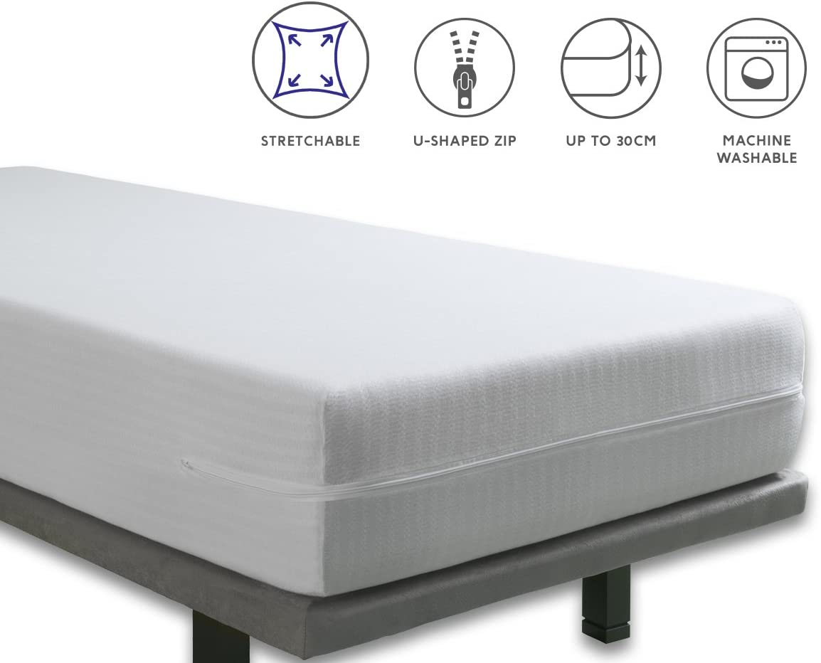 Tural – Funda de colchón Extra elástica y Resistente. Cierre con Cremallera. Talla 150x190/200cm