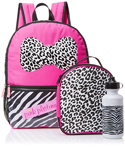 Pink Platinum Girls' Zebra Stripes 16 Inch Backpack with Lunch Kit and Water Bottle