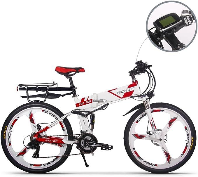 GUOWEI Rich bit RT-860 36V 12.8AH 250W Bicicleta Plegable eléctrica Bicicleta de Ciudad de suspensión Completa (White-Red): Amazon.es: Deportes y aire libre