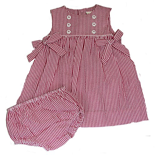 Pink Stripe Seersucker Dress with Diaper Cover (3 Months)