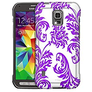 Samsung Galaxy S5 Active Case, Slim Fit Snap On Cover by Trek Damasks Vintage Purple on White Case