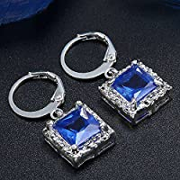 khamchanot Women Fashion 925 Silver Sapphire Dangle Drop Huggie Earrings Wedding Jewelry