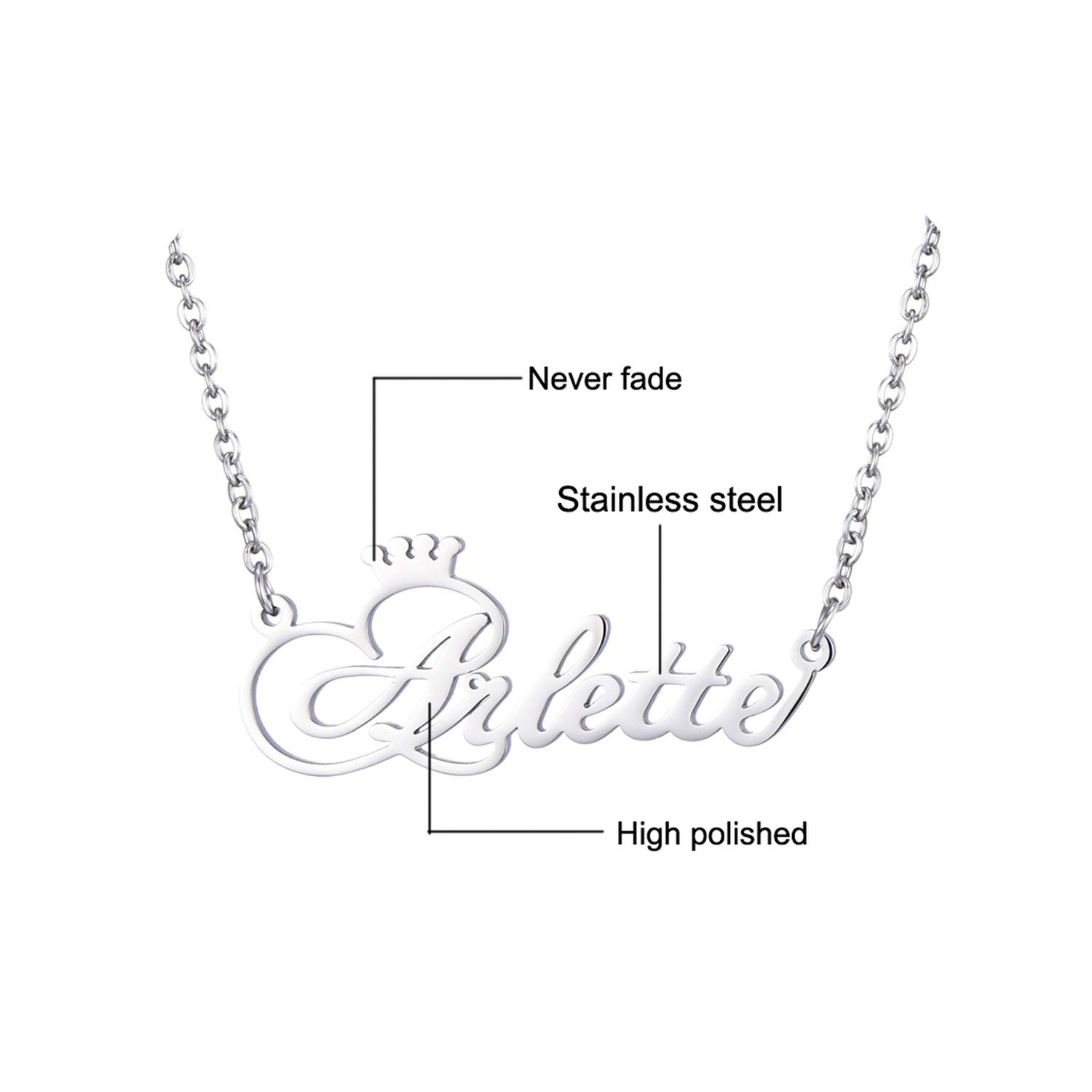 Amazon com: Personalized Name Crown Necklace Handmade