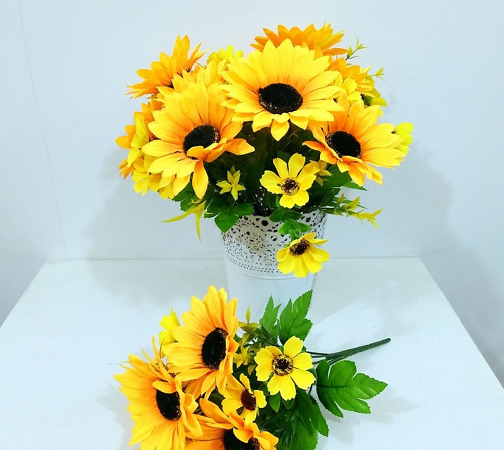 Leoyoubei-2-PCS-Bouquet-of-Artificial-silk-Flower-Sunflower-12-Bouquet-and-Green-Leaf-for-Home-Decoration-Bridal-Wedding-Festival-decoration-small-flower-Yellow