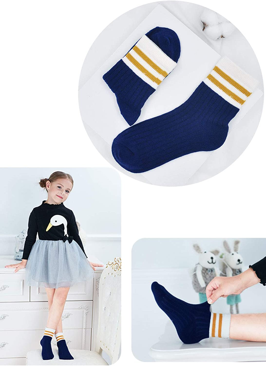 ZAKASA Kids Toddler Big Little Girls Boys Moda Cute Cotton Crew Seamless Socks Confezione da 5 pezzi