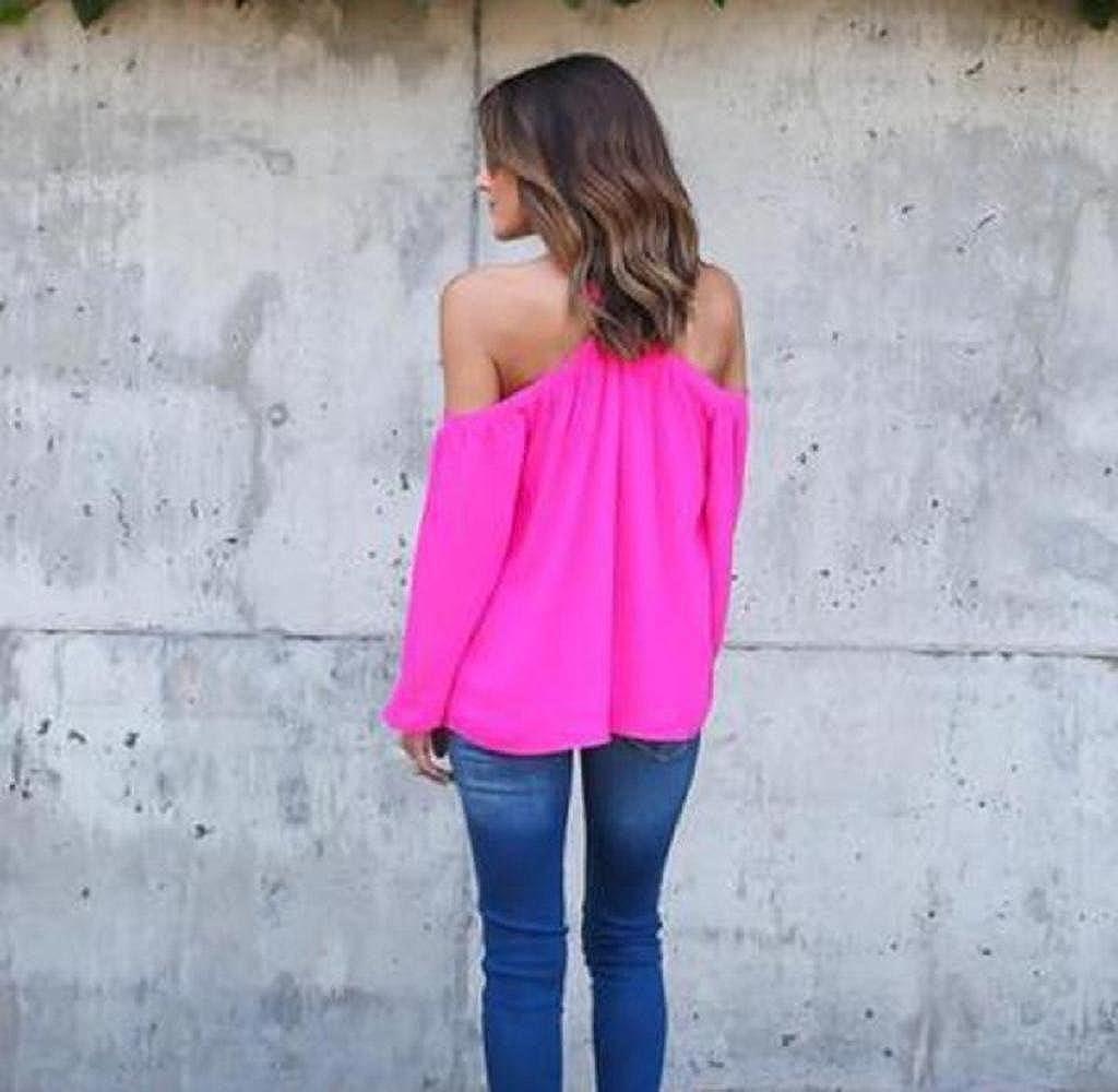 Mujer Blusa de Gasa de Cuello barco, Holacha Camisa de Manga Larga Solido Tops Moda Elegante (M, rosa fuerte): Amazon.es: Ropa y accesorios