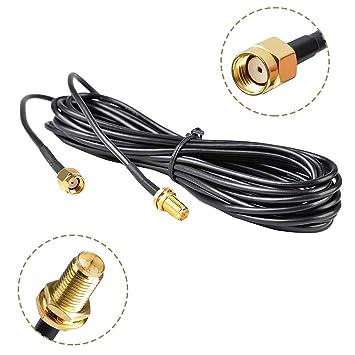 WayinTop 5 M Antena WiFi Extensión Cable RP-SMA Macho a ...