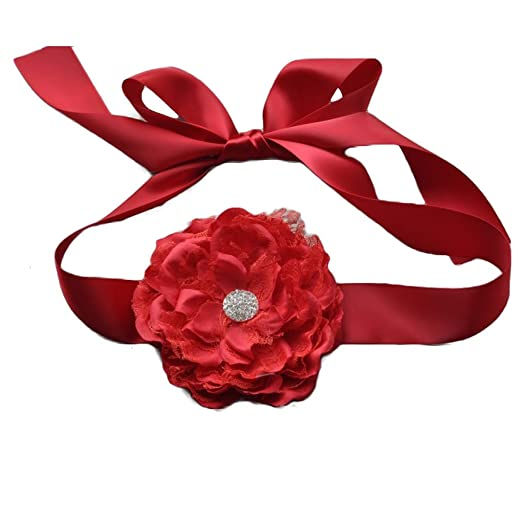 74a11099e6 Amazon.com: Flower Girls Sash Belt with Lace Big Peony Flower ...