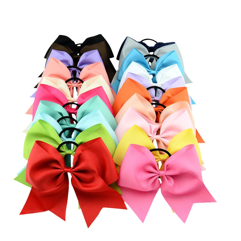 Jaciya 20 Pack 8'' Women Girl Large Cheer Hair Bows Ponytail Holder Elastic Hair Ties Cheerleading Pony Tail Holder Elastic Head Loop For Women Girls Uniform Accessories