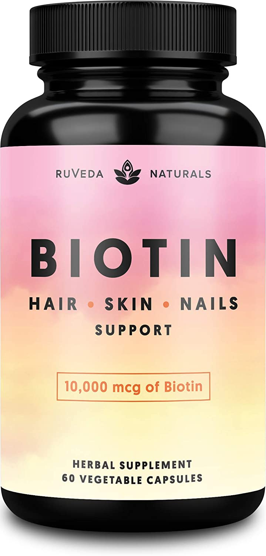 Hair Vitamins—Biotin 10000 mcg for Hair Growth, Hair Skin and Nails Vitamins + Adaptogens, Hair Growth Vitamins, Hair Vitamins for Faster Hair Growth, Biotin for Hair Growth, Biotin Supplement