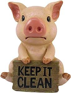 "DWK ""No Dirty Piggies Pig Bathroom Statue | Bathroom Decor | Kitchen Accessories | Pig Statues & Figurines | Rustic Decor | Bathroom Accessories and Decorations - 6""…"
