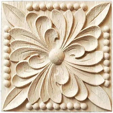 Decorative applique flower on square tile resin furniture moulding onlay NR44