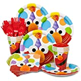 Elmo Birthday Standard Kit Serves 8 Guests (Includes Plates, Napkins, Cups, Forks, Spoons and Knives)