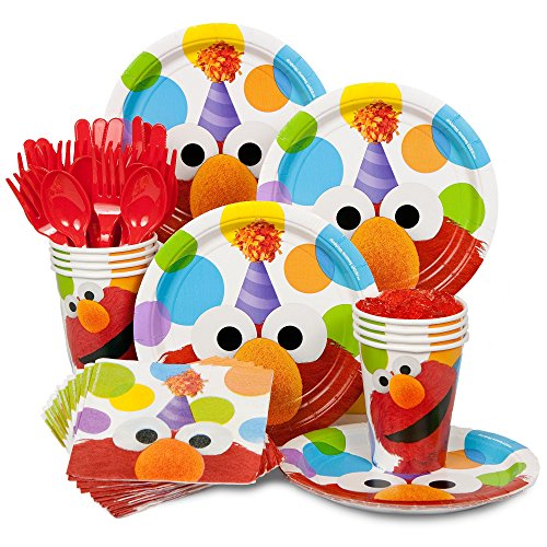 Party Decorations Elmo (Elmo Birthday Standard Kit Serves 8 Guests (Includes Plates, Napkins, Cups, Forks, Spoons and)