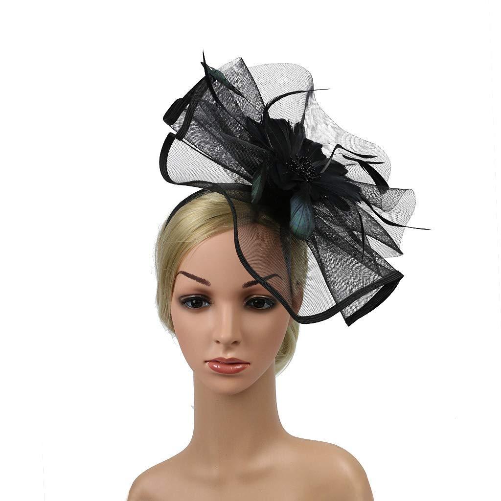 Kentucky Derby Fascinators for Women Sinamay Tea Party Hat Cocktail Headpiece Flower Mesh Feathers Headband Hat Black-AD by Merya Dress (Image #3)