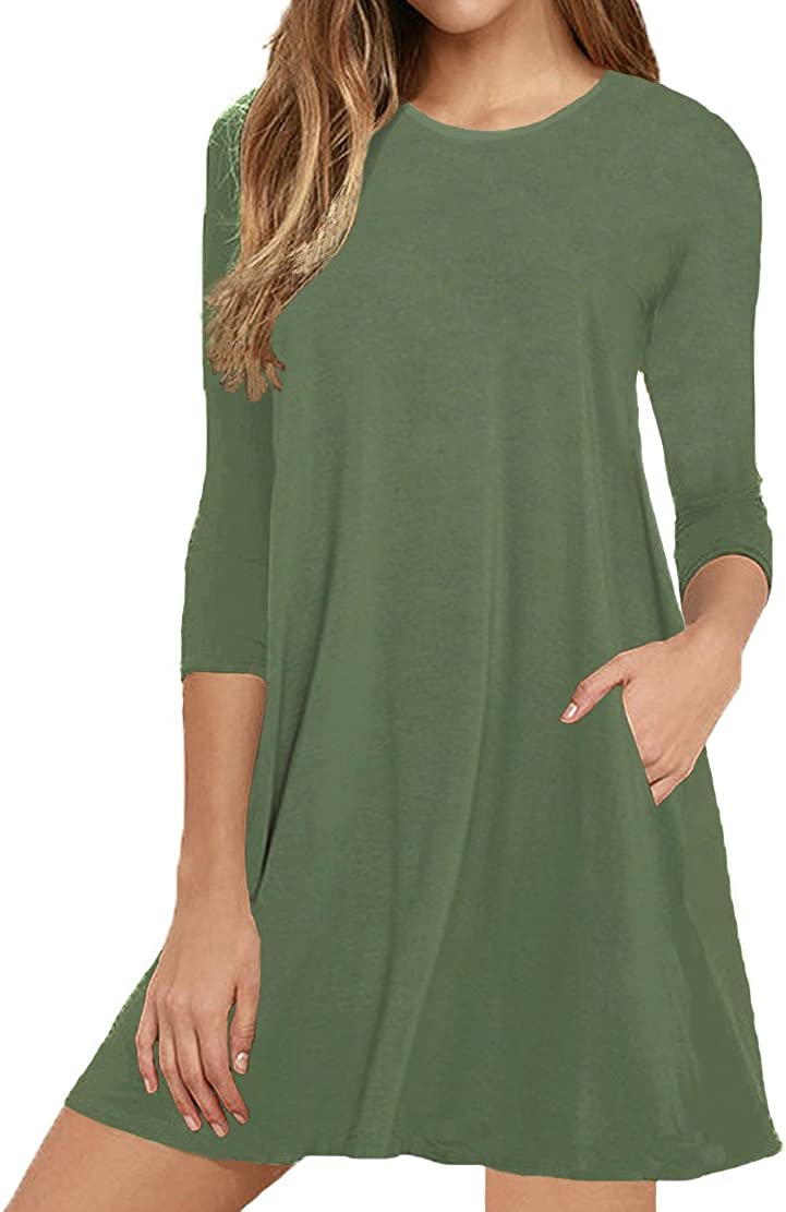 VIISHOW Womens Round Neck 3//4 Sleeves A-line Casual Tshirt Dress with Pocket