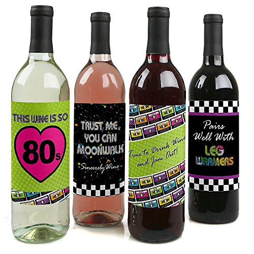 80's Retro - Totally 1980s Party Decorations for Women and Men - Wine Bottle Label Stickers - Set of 4 ()