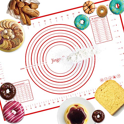 JingooBon Silicone Pastry Mat with Measurements, Non-Stick Baking Mat, Non-Slip Rolling Dough Mat for Pizza, Pie, Pastries, Pasta, Fondant and Cookies 24