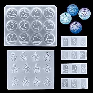 llavero gemas HONDER 12 moldes de resina de constelaciones 2 piezas de silicona con hor/óscopo del zodiaco colgante de joyer/ía de resina epoxi molde de fundici/ón para pendientes manualidades
