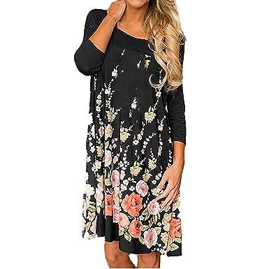 c996fc4c799 Gufenban Women Flower Print Long Sleeve Dress