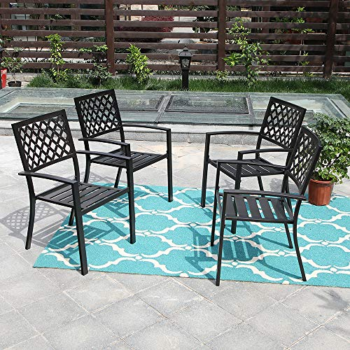 MF Studio Black Metal Patio Stacking Chairs Wave Back Indoor Outdoor Dining Set Wrought Iron Chair with Arm, Set of 4