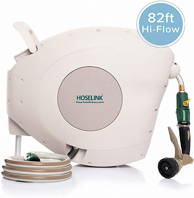 Hoselink Automatic Retractable Garden Hose Reel with 7-Function Spray Gun - Easy to Use Connectors