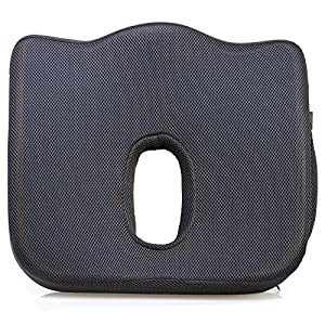 ZZCP Coccyx Seat Cushion, Cooling Gel-Enhanced Memory Foam Back Support Large Orthopedic Tailbone Pillow for Hip, Sciatica and Back Pain Relief,Including Gift Bag (Black)