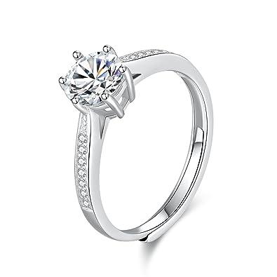 Whcreat Damen 925 Sterling Silber Ringe Hochzeit Verlobung