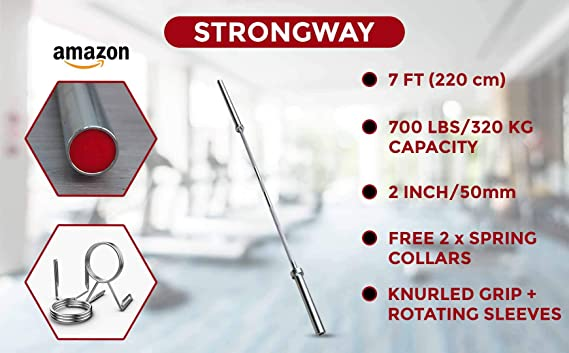 Strongway 20KG 7FT Olympic Bar (700LBS/320KG Rated) Barbell Weight Lifting Barbell Chrome