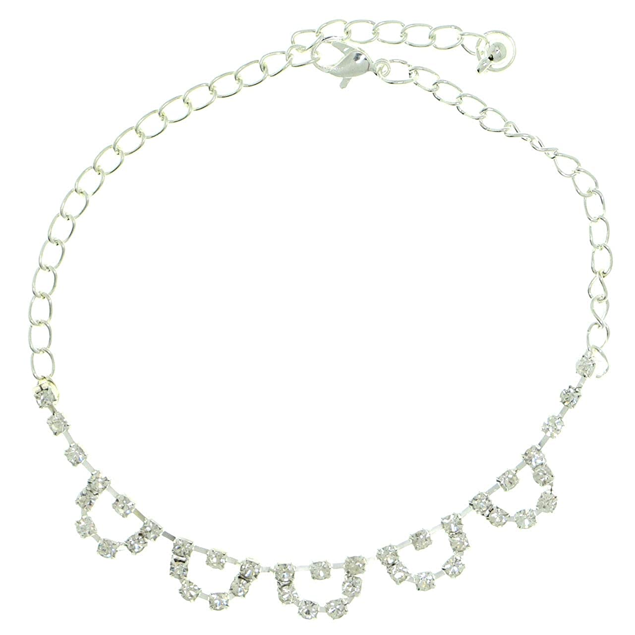 Mi Amore Silver-Tone Ankle Bracelet With Rhinestone Accents AN5070A