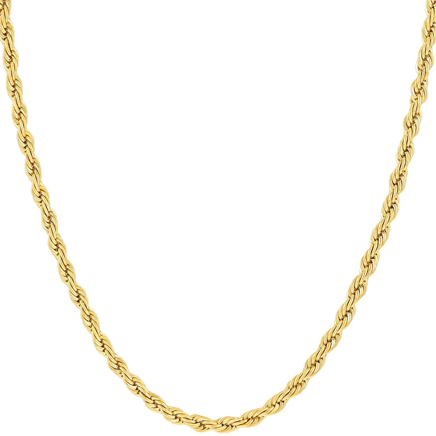 Hollywood Jewelry 14K Yellow Gold Solid 2mm Diamond Cut Rope Chain Necklace w/Real Strong Lobster Claw Clasp f/Men or Women Thin for Pendants 16-24inches