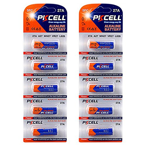 PKCELL 27A 12V Duration 35h 27A A27 MN27 VR27 L828 Alkaline Battery Pack of 10