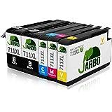 JARBO Compatible HP 711 XL Cartuchos de tinta Gran Capacidad para HP designjet T120 HP designjet T520 Series (2 Negro,1 Cian,1 Magenta,1 Amarillo)