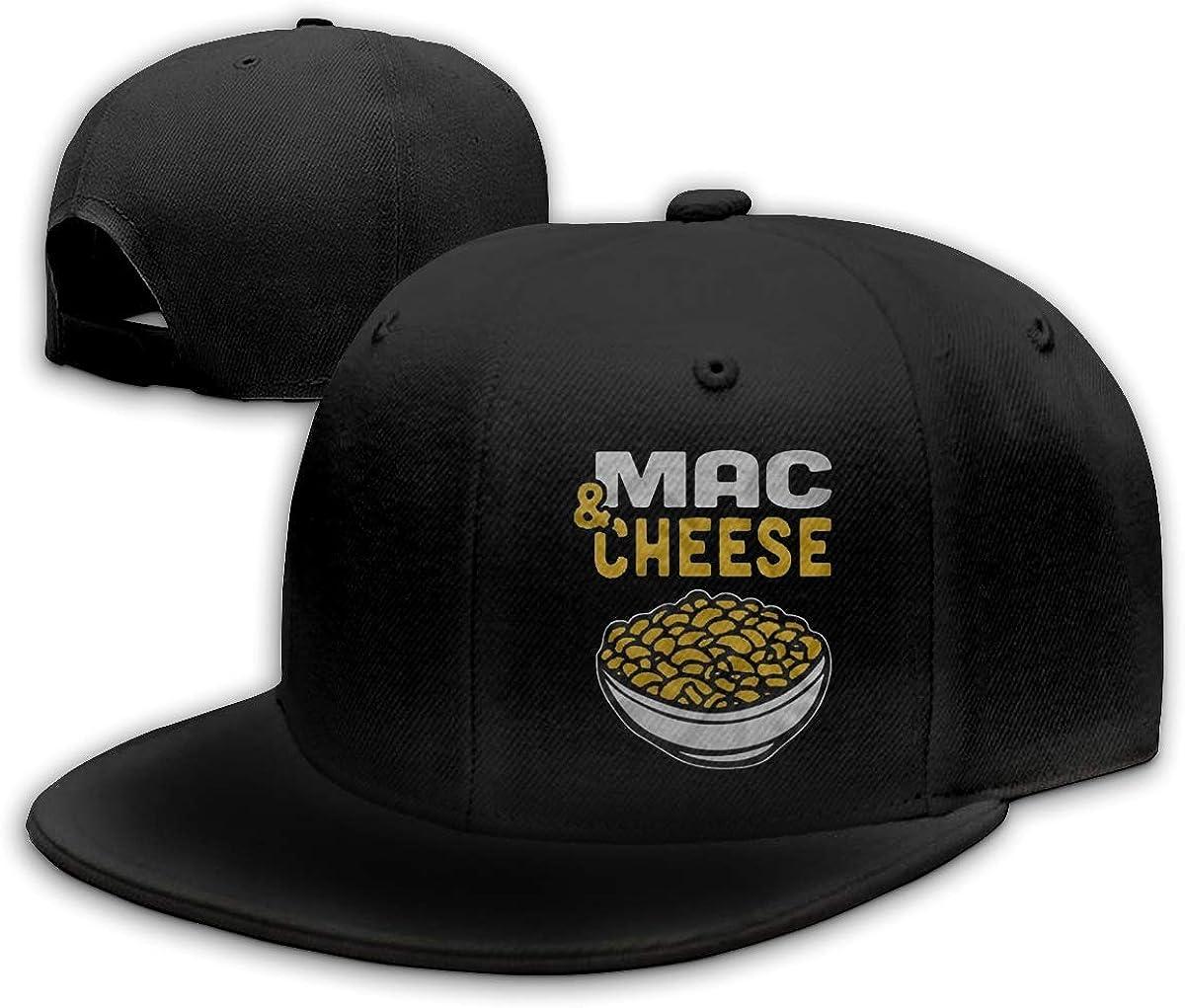 Funny Cap Mac and Cheese Food Unisex Flat Baseball Caps Adjustable Trucker Hat Black