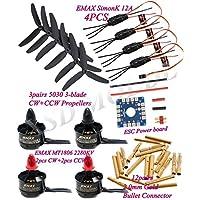 4x EMAX MT1806 2280KV Motor &12A SimonK ESC & Power board & Connector & 5030 3-blade Props for FPV QAV250 Multirotor Quadcopter