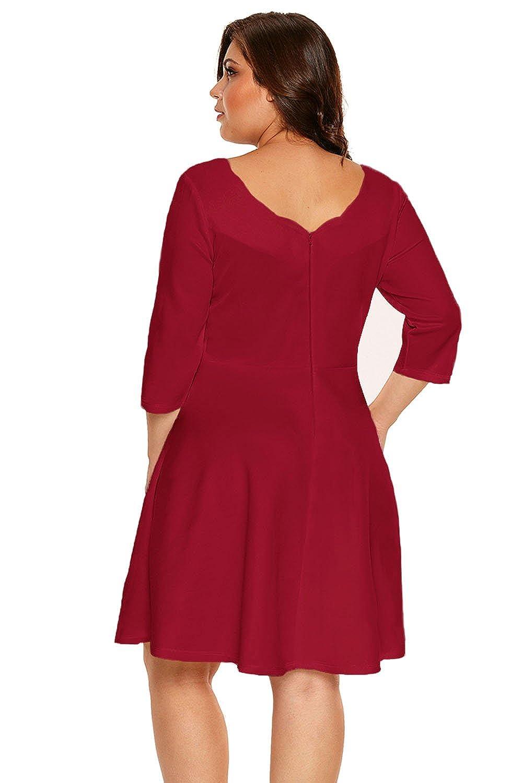 ILFtrend Neckline Große Größen Kleid 3/4 Sleeve Skater Dress ...